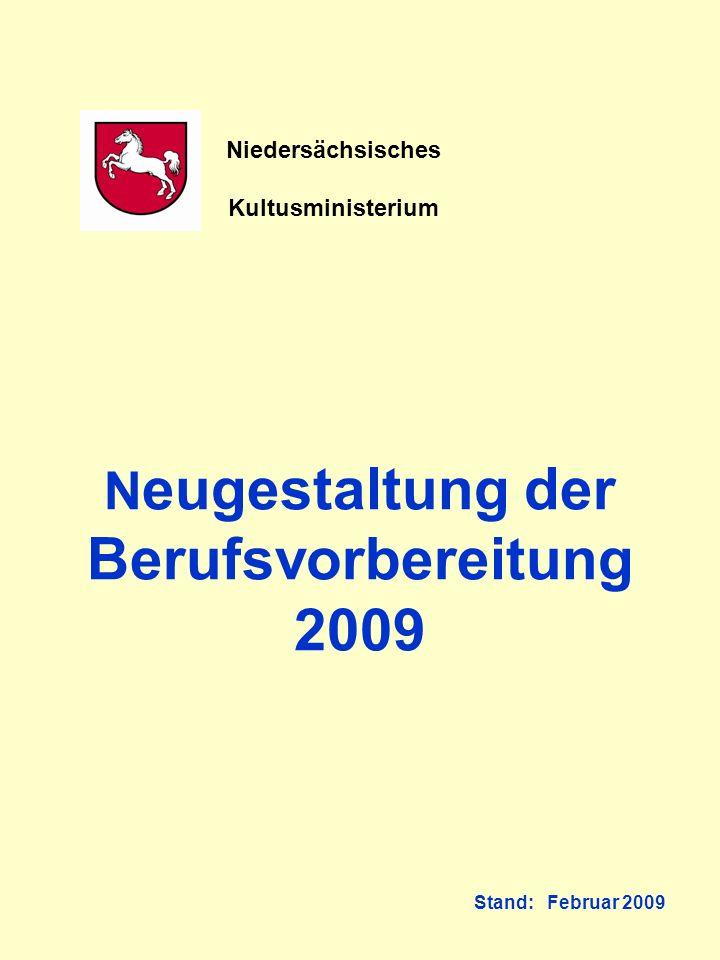 Neugestaltung der Berufsvorbereitung 2009 Stand: Februar 2009