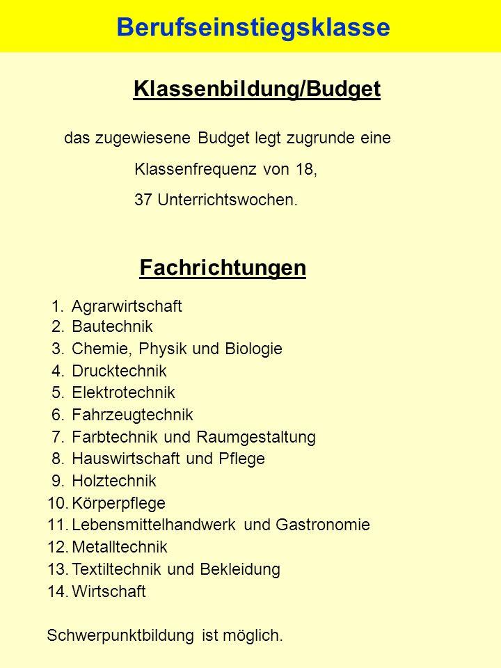 Klassenbildung/Budget