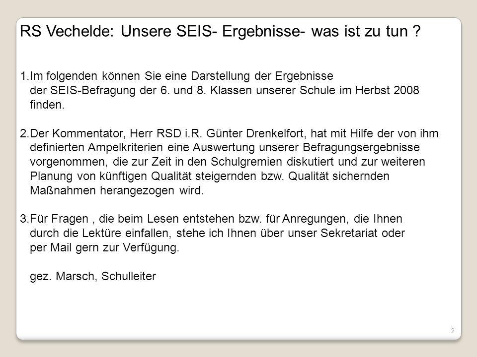 RS Vechelde: Unsere SEIS- Ergebnisse- was ist zu tun
