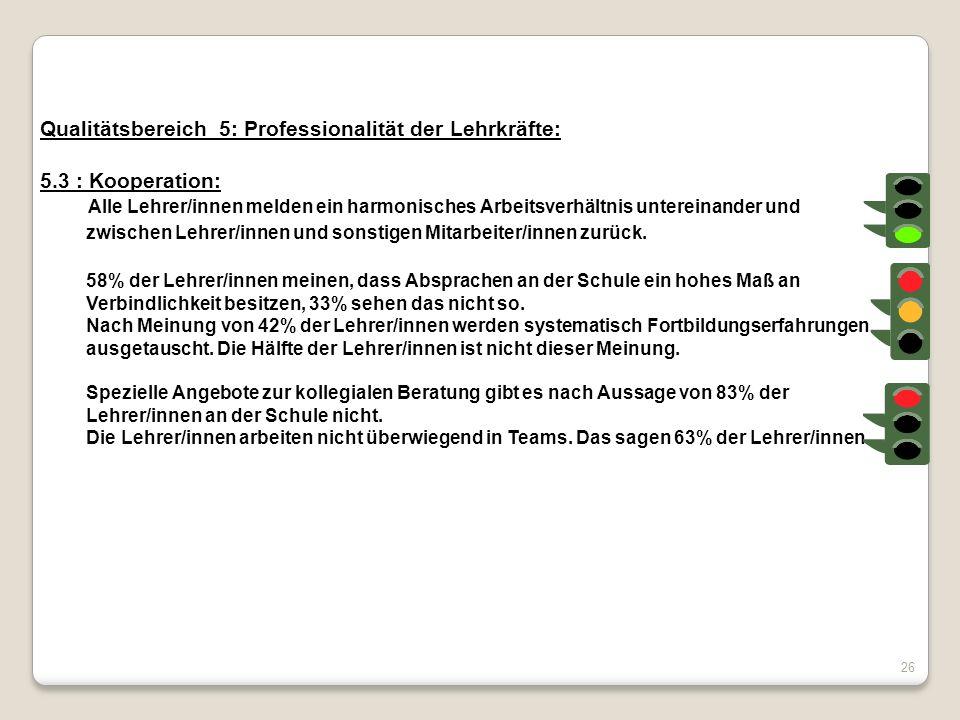 Qualitätsbereich 5: Professionalität der Lehrkräfte: