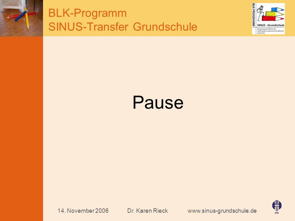 Pause 14. November 2006 Dr. Karen Rieck