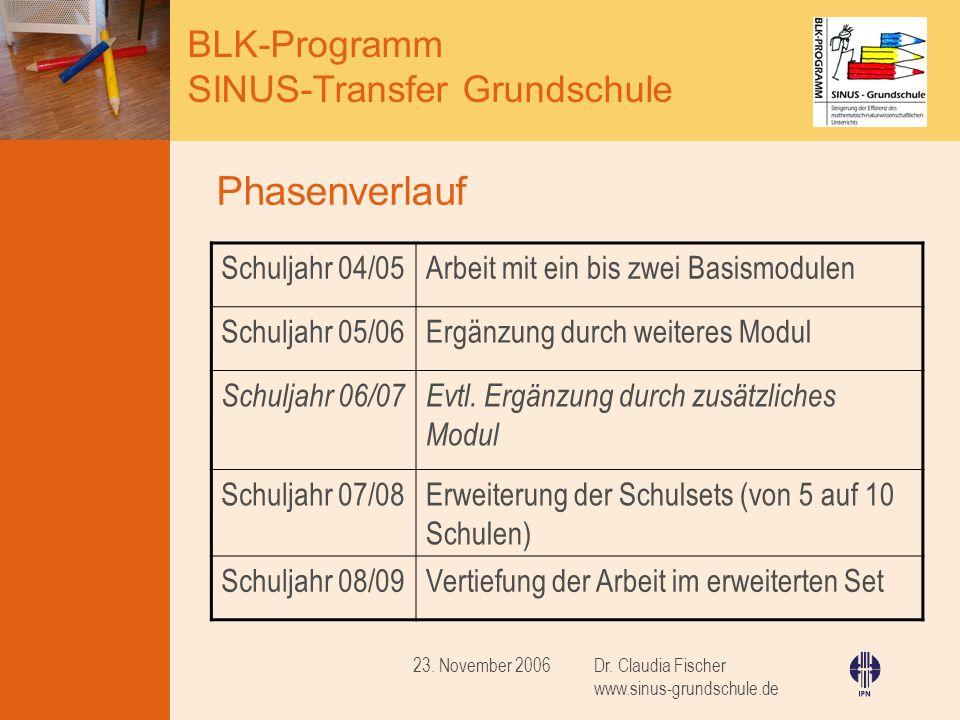 Phasenverlauf Schuljahr 04/05 Arbeit mit ein bis zwei Basismodulen