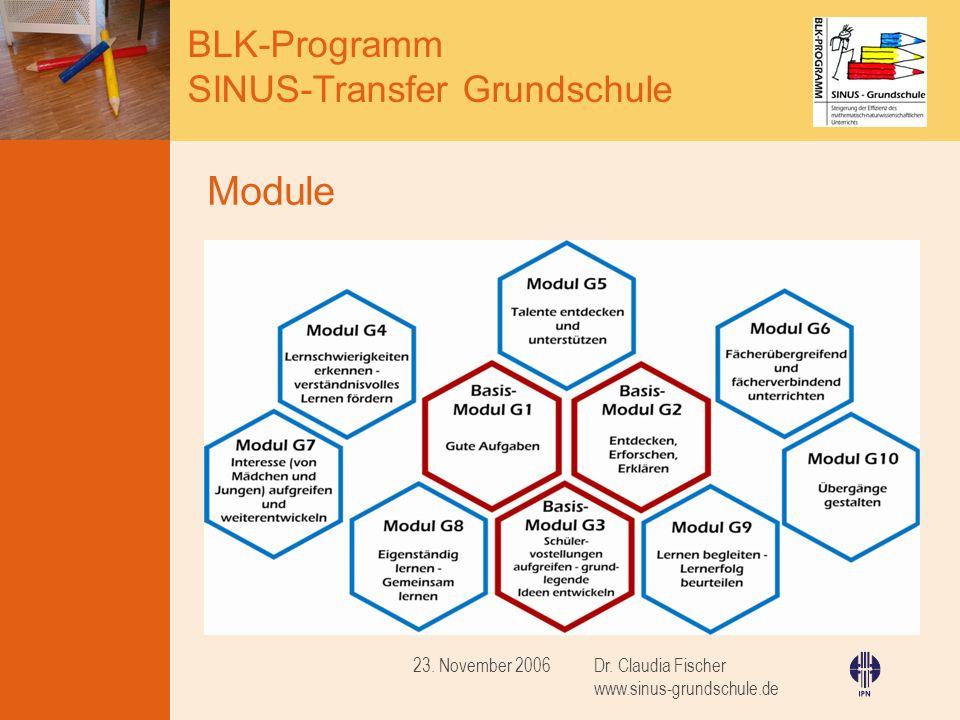 Module 23. November 2006 Dr. Claudia Fischer www.sinus-grundschule.de