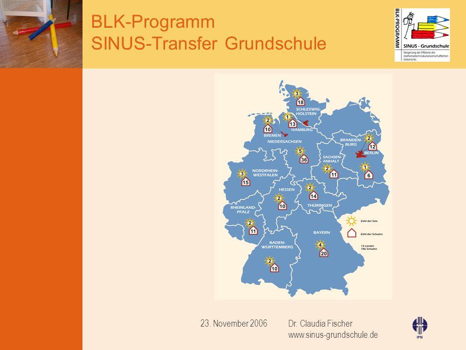 23. November 2006 Dr. Claudia Fischer www.sinus-grundschule.de