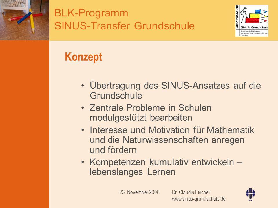 Konzept Übertragung des SINUS-Ansatzes auf die Grundschule