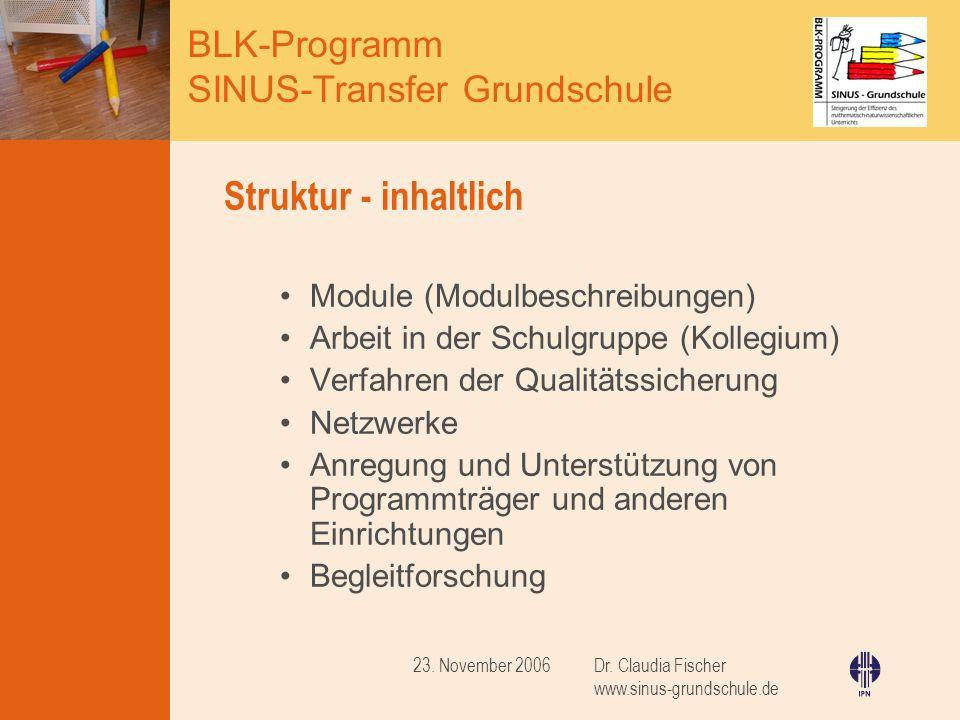 Struktur - inhaltlich Module (Modulbeschreibungen)