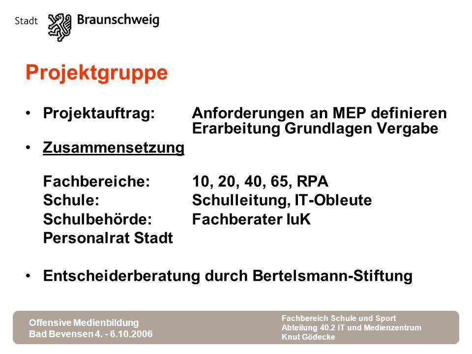 Projektgruppe Projektauftrag: Anforderungen an MEP definieren Erarbeitung Grundlagen Vergabe. Zusammensetzung.