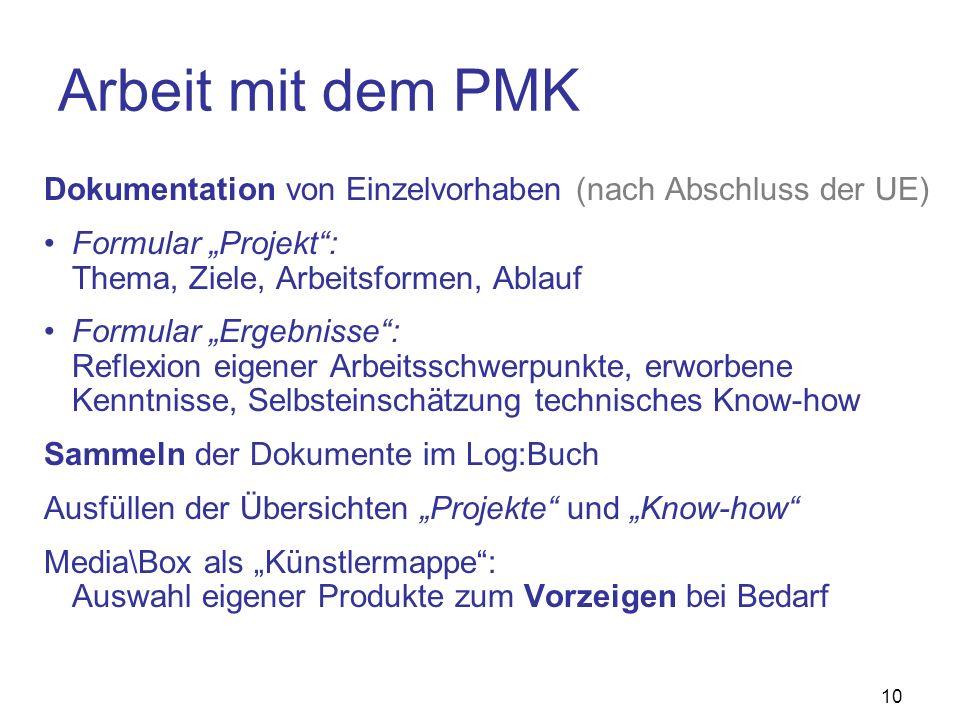 """Arbeit mit dem PMK Dokumentation von Einzelvorhaben (nach Abschluss der UE) Formular """"Projekt : Thema, Ziele, Arbeitsformen, Ablauf."""