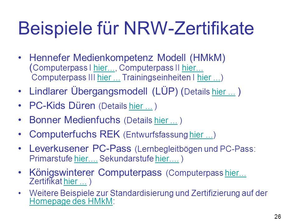 Beispiele für NRW-Zertifikate