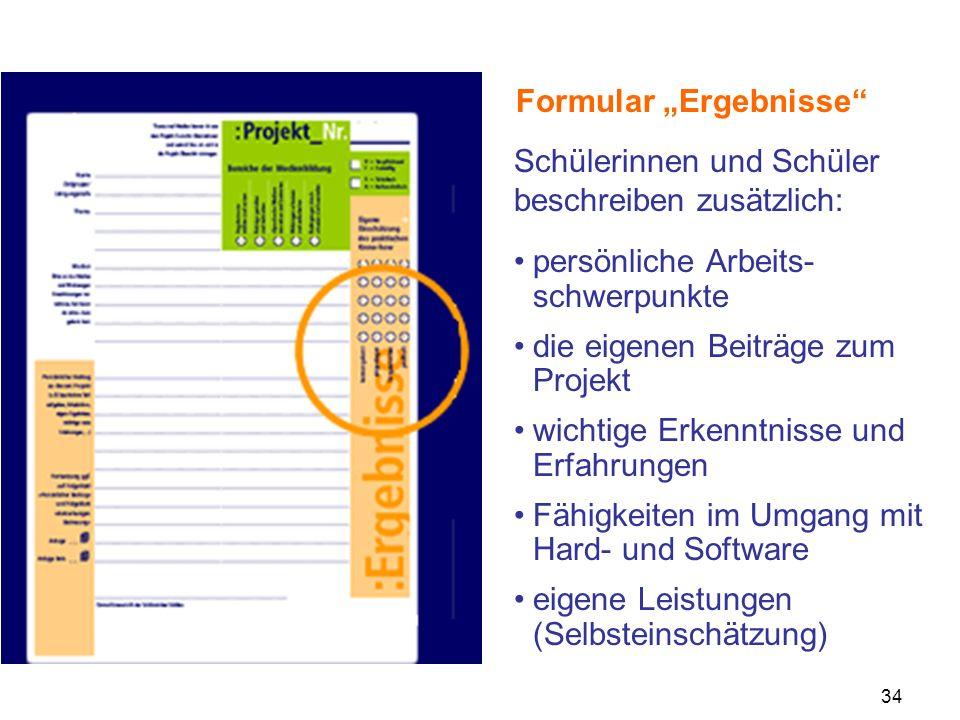 "Formular ""Ergebnisse"
