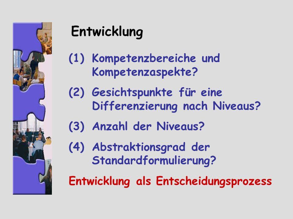Entwicklung Kompetenzbereiche und Kompetenzaspekte