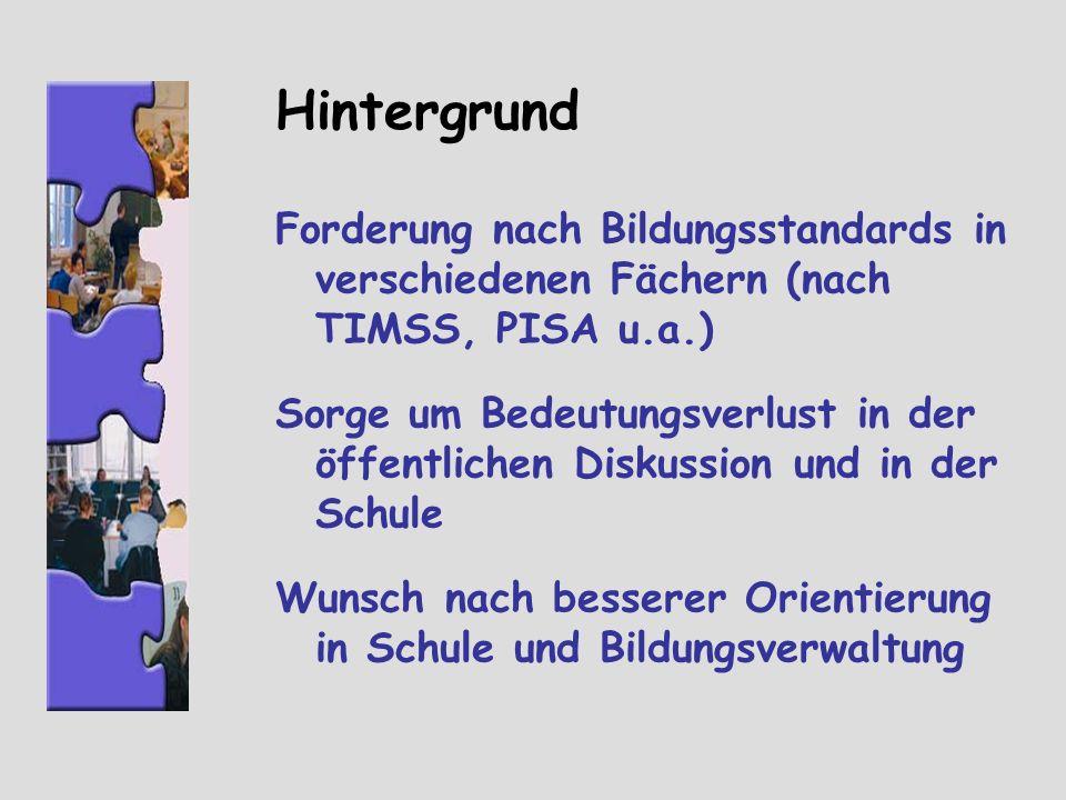 Hintergrund Forderung nach Bildungsstandards in verschiedenen Fächern (nach TIMSS, PISA u.a.)