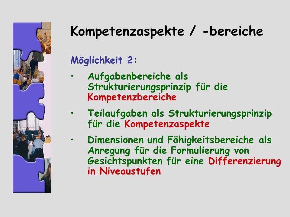Kompetenzaspekte / -bereiche