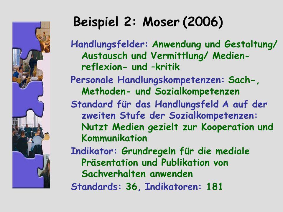 Beispiel 2: Moser (2006) Handlungsfelder: Anwendung und Gestaltung/ Austausch und Vermittlung/ Medien-reflexion- und –kritik.