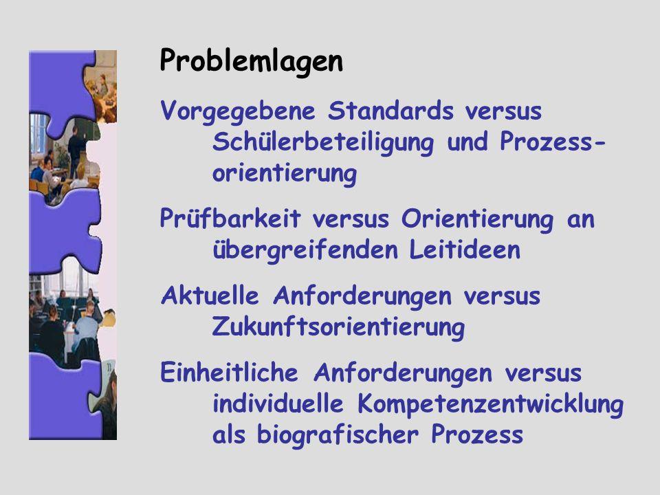 Problemlagen Vorgegebene Standards versus Schülerbeteiligung und Prozess-orientierung. Prüfbarkeit versus Orientierung an übergreifenden Leitideen.