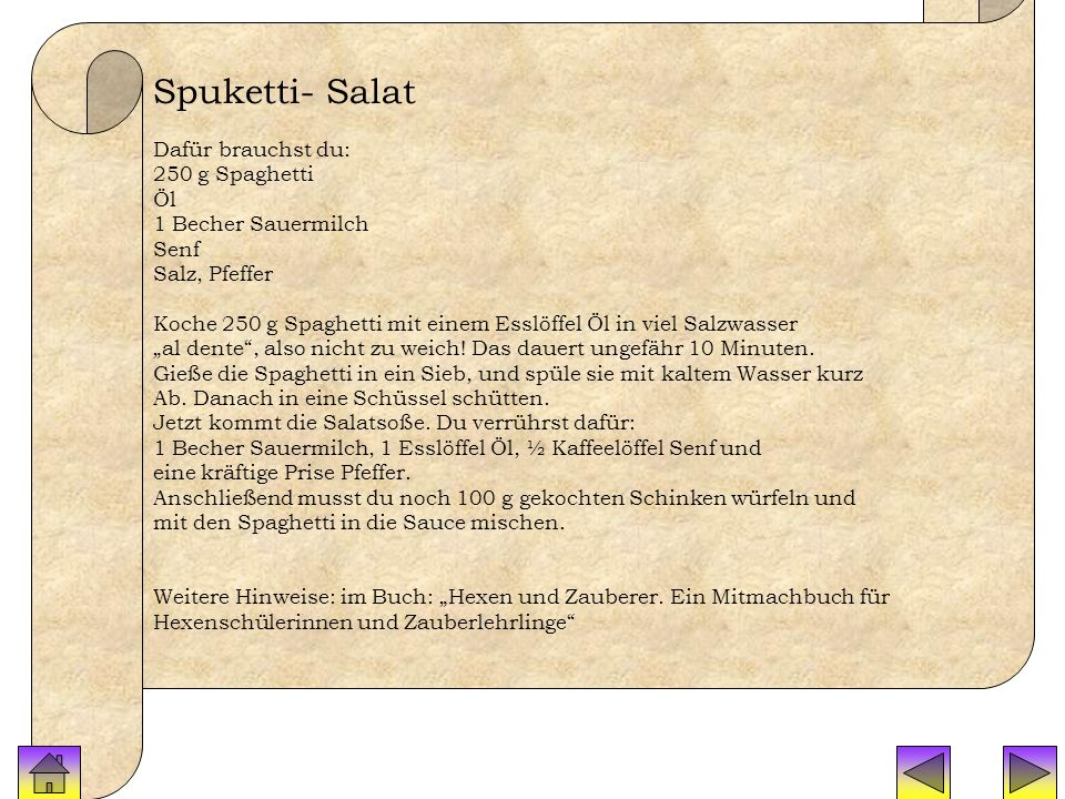 Rezepte Spuketti Spuketti- Salat Dafür brauchst du: 250 g Spaghetti Öl