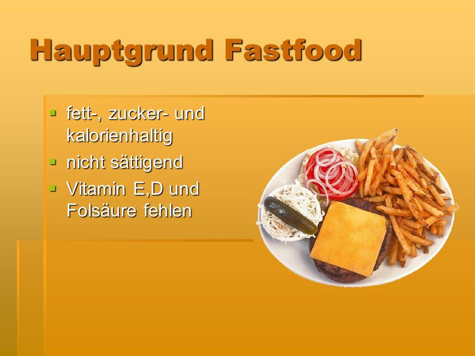 Hauptgrund Fastfood fett-, zucker- und kalorienhaltig nicht sättigend