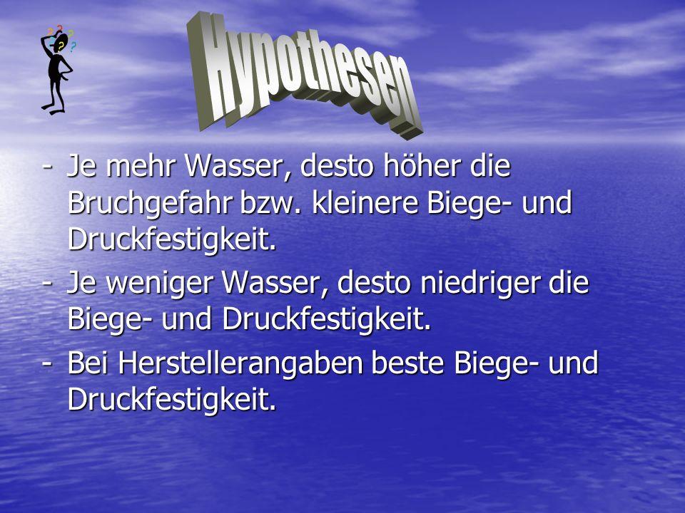 Hypothesen- Je mehr Wasser, desto höher die Bruchgefahr bzw. kleinere Biege- und Druckfestigkeit.