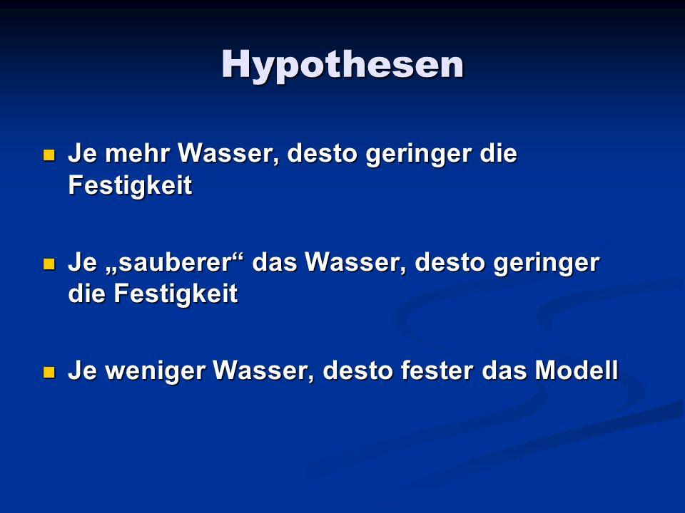 Hypothesen Je mehr Wasser, desto geringer die Festigkeit