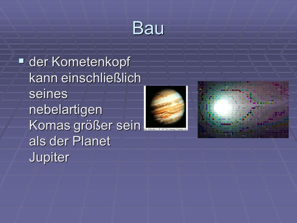 Bau der Kometenkopf kann einschließlich seines nebelartigen Komas größer sein als der Planet Jupiter.