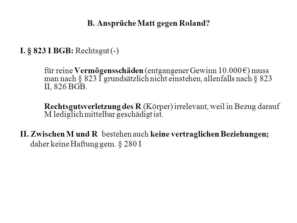 B. Ansprüche Matt gegen Roland