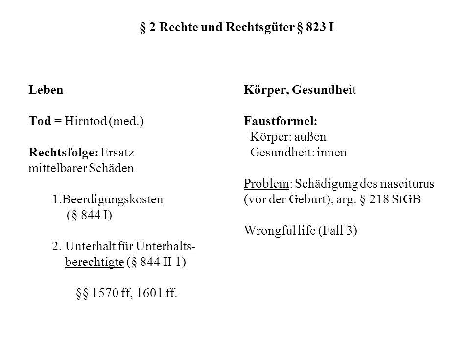 § 2 Rechte und Rechtsgüter § 823 I