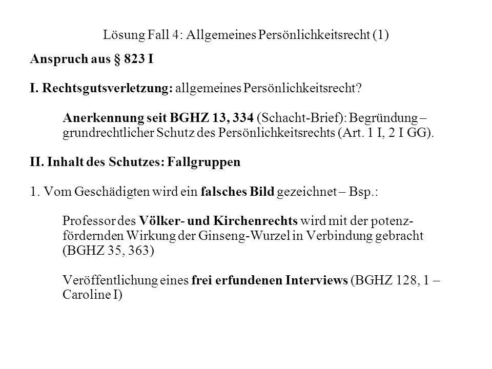 Lösung Fall 4: Allgemeines Persönlichkeitsrecht (1)