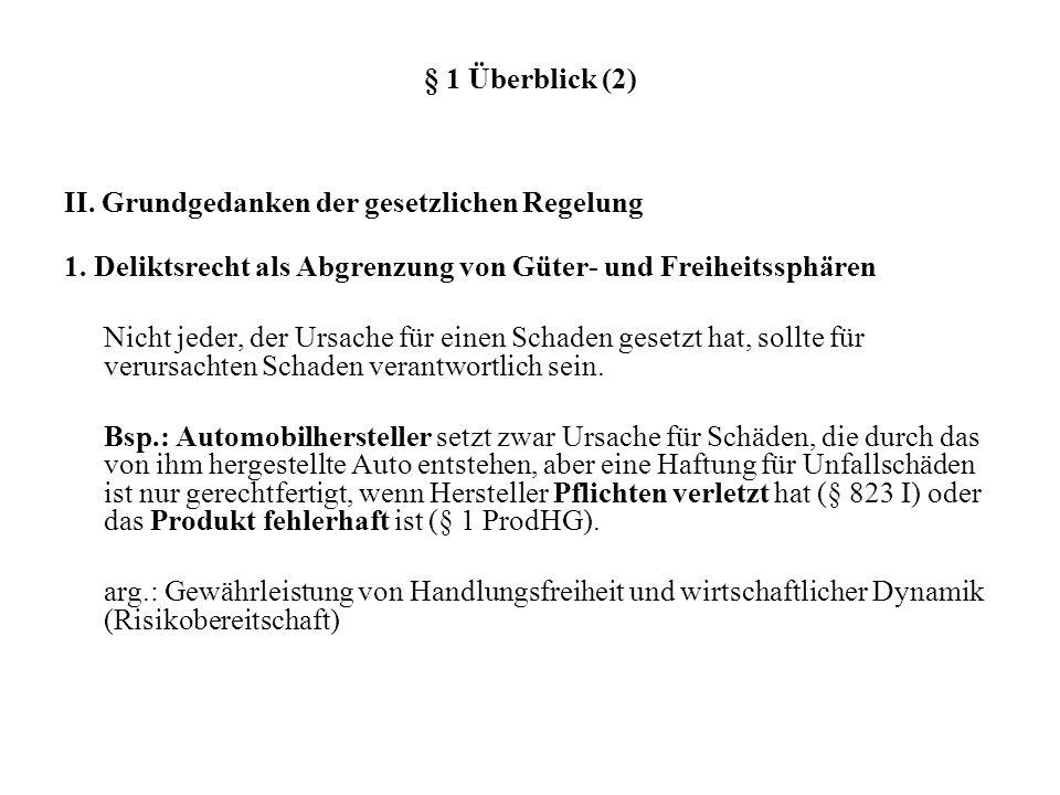 § 1 Überblick (2) II. Grundgedanken der gesetzlichen Regelung. 1. Deliktsrecht als Abgrenzung von Güter- und Freiheitssphären.