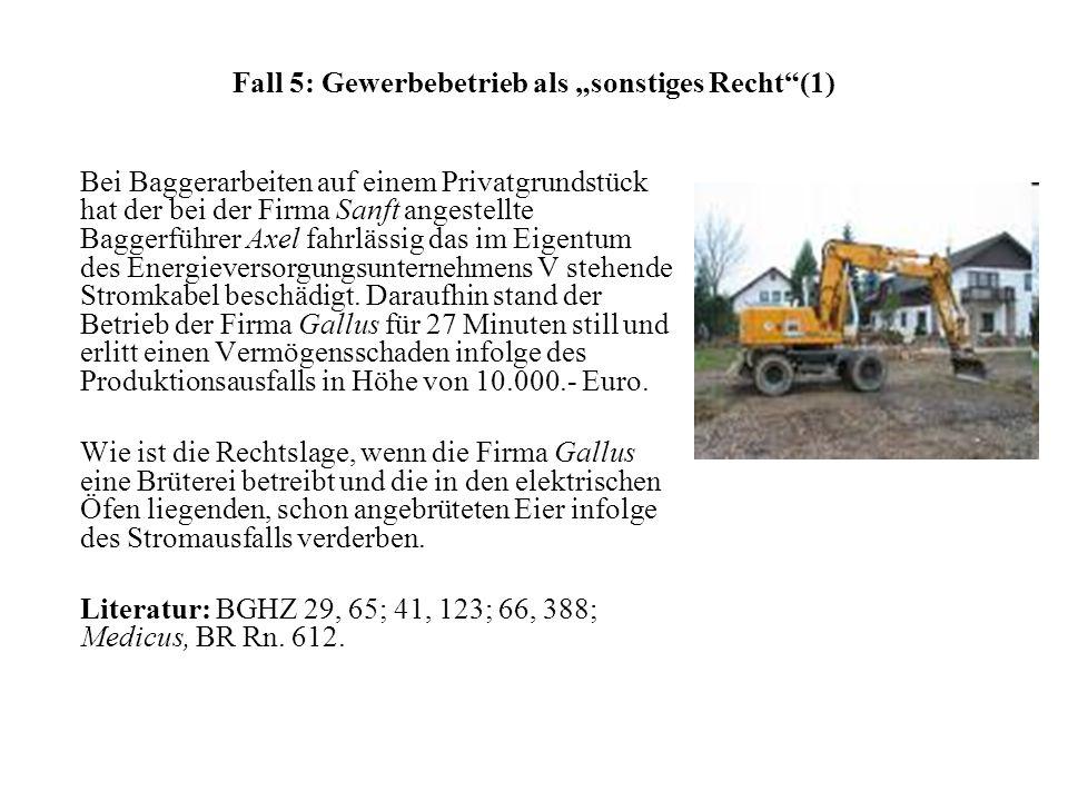 "Fall 5: Gewerbebetrieb als ""sonstiges Recht (1)"