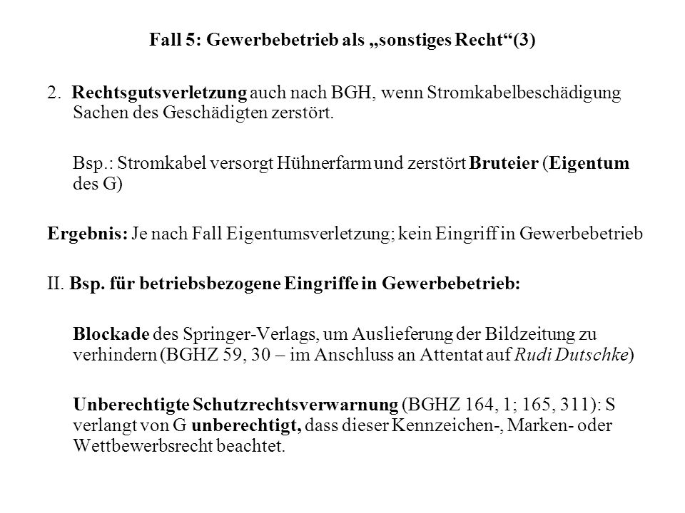 "Fall 5: Gewerbebetrieb als ""sonstiges Recht (3)"
