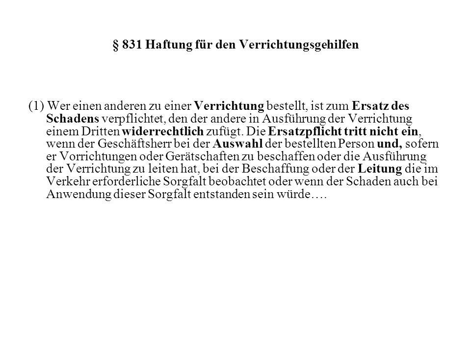 § 831 Haftung für den Verrichtungsgehilfen
