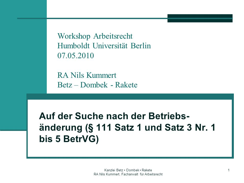 Workshop Arbeitsrecht Humboldt Universität Berlin 07. 05
