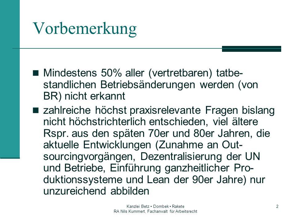 Vorbemerkung Mindestens 50% aller (vertretbaren) tatbe-standlichen Betriebsänderungen werden (von BR) nicht erkannt.