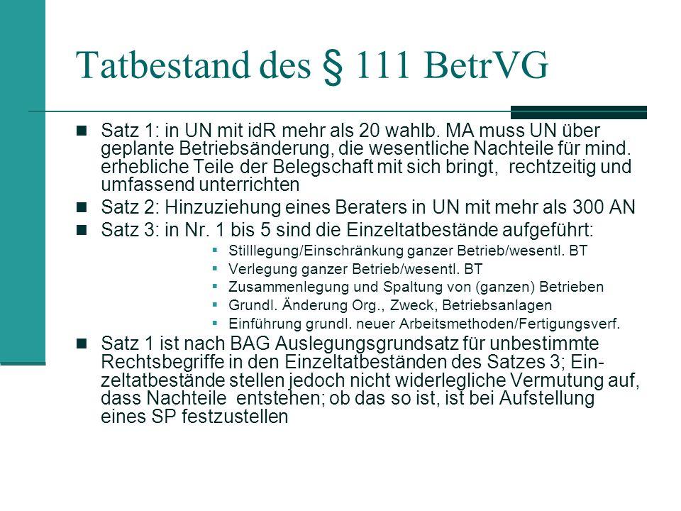 Tatbestand des § 111 BetrVG