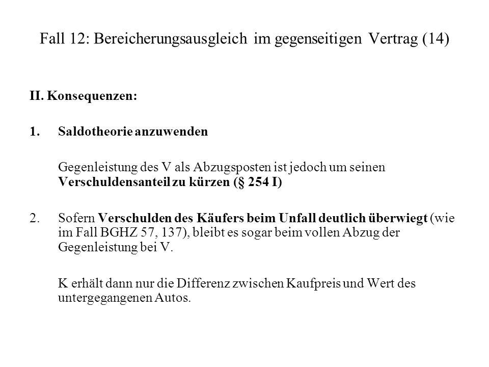 Fall 12: Bereicherungsausgleich im gegenseitigen Vertrag (14)
