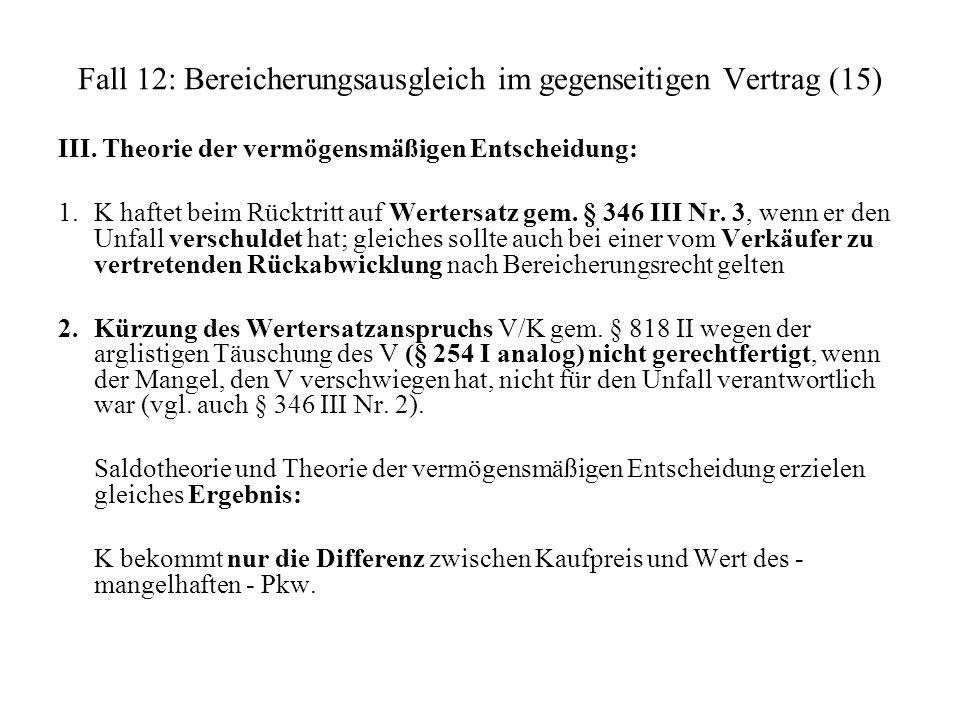 Fall 12: Bereicherungsausgleich im gegenseitigen Vertrag (15)