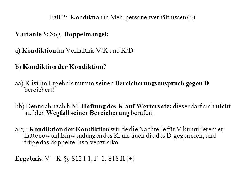 Fall 2: Kondiktion in Mehrpersonenverhältnissen (6)