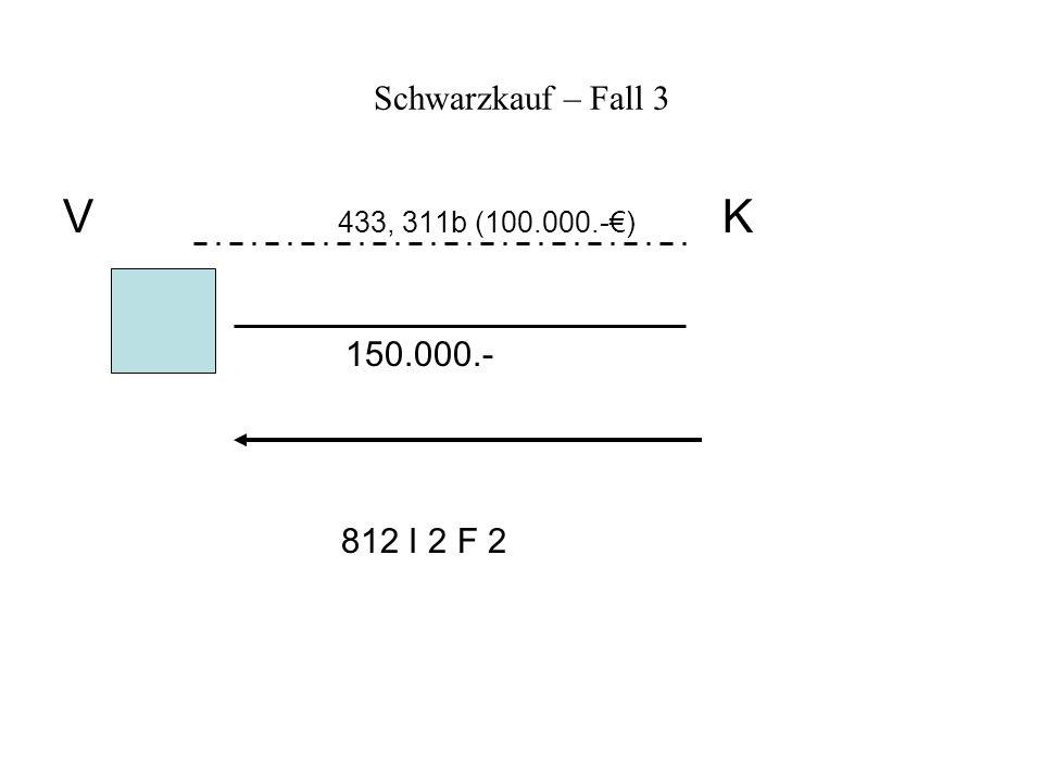 Schwarzkauf – Fall 3 V 433, 311b (100.000.-€) K 150.000.- 812 I 2 F 2
