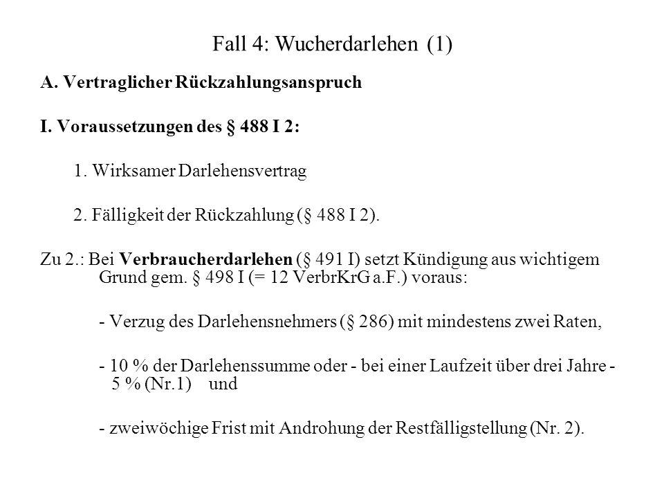Fall 4: Wucherdarlehen (1)