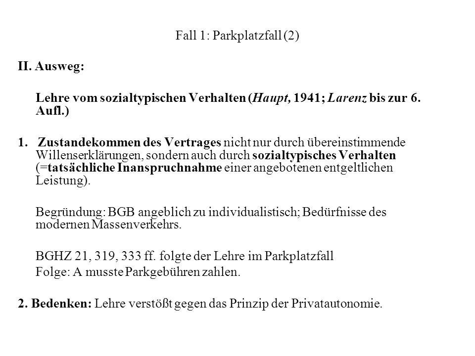 Fall 1: Parkplatzfall (2)