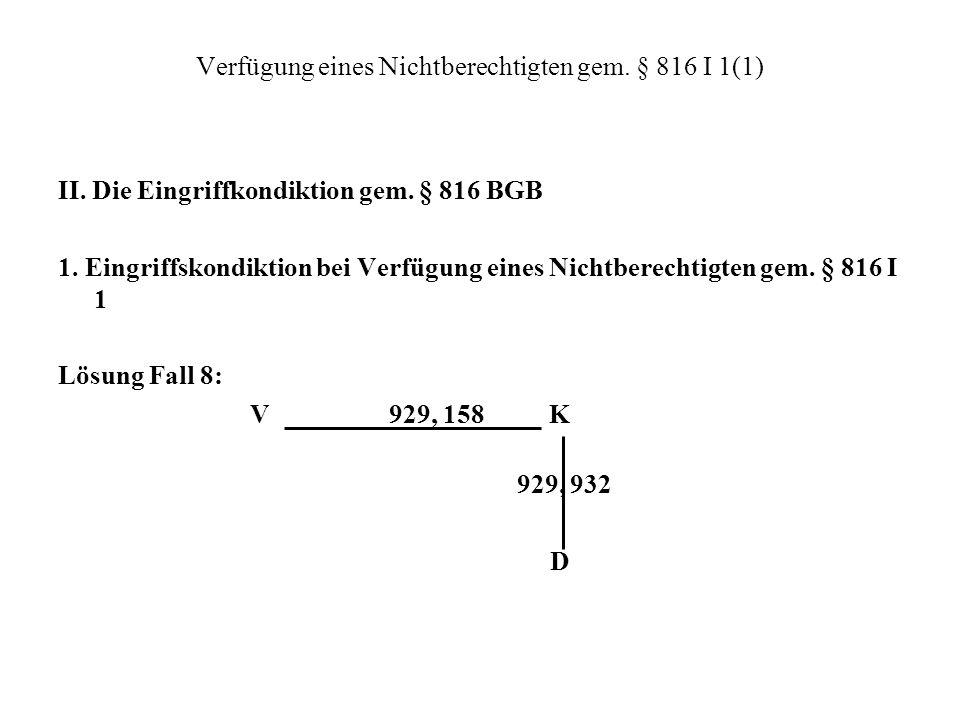 Verfügung eines Nichtberechtigten gem. § 816 I 1(1)