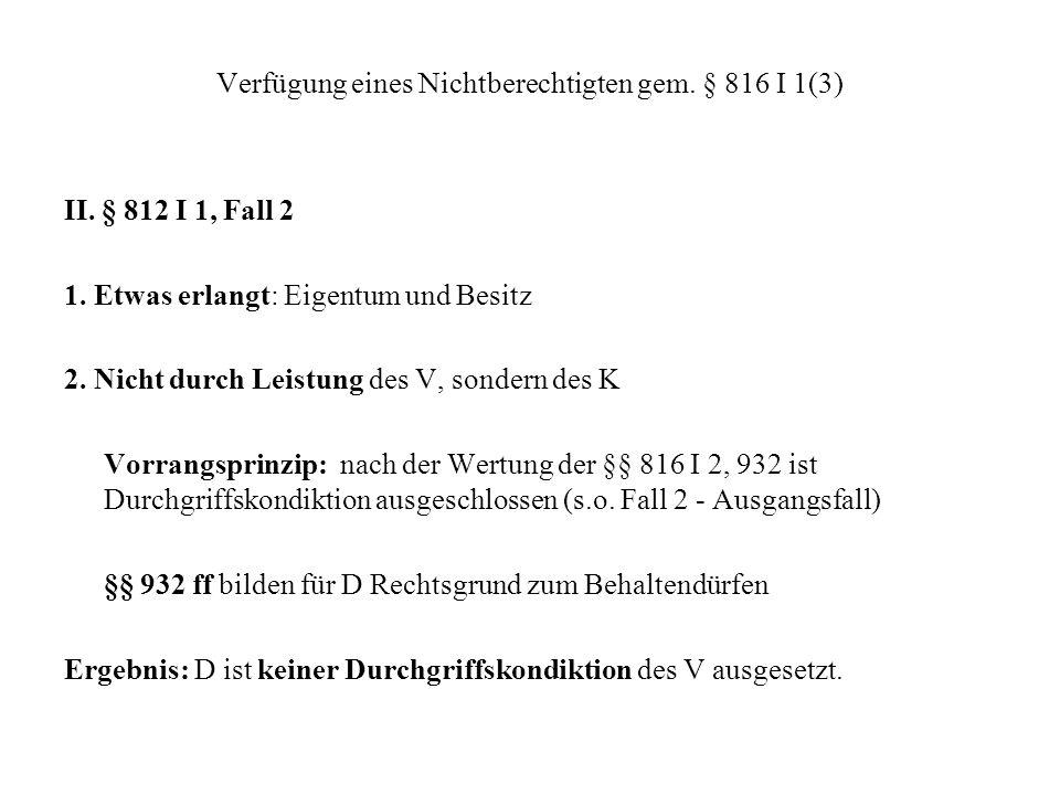 Verfügung eines Nichtberechtigten gem. § 816 I 1(3)