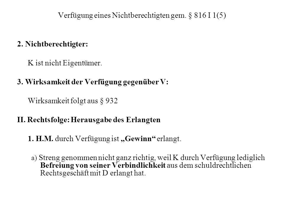 Verfügung eines Nichtberechtigten gem. § 816 I 1(5)