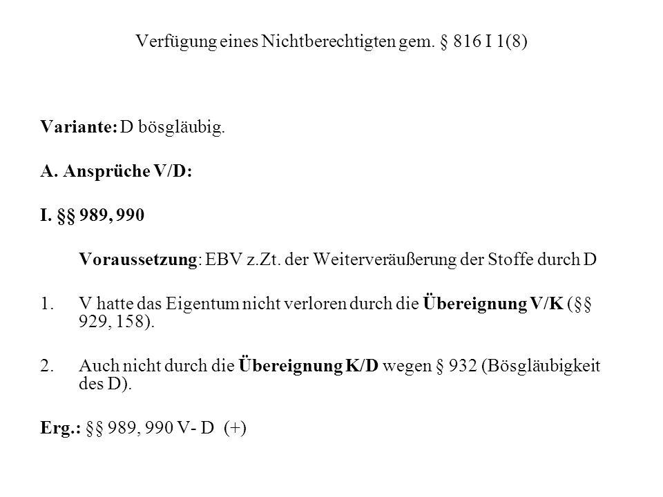 Verfügung eines Nichtberechtigten gem. § 816 I 1(8)