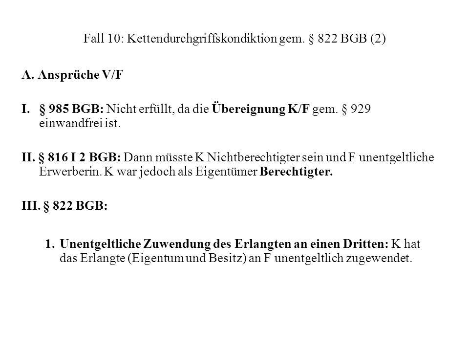 Fall 10: Kettendurchgriffskondiktion gem. § 822 BGB (2)