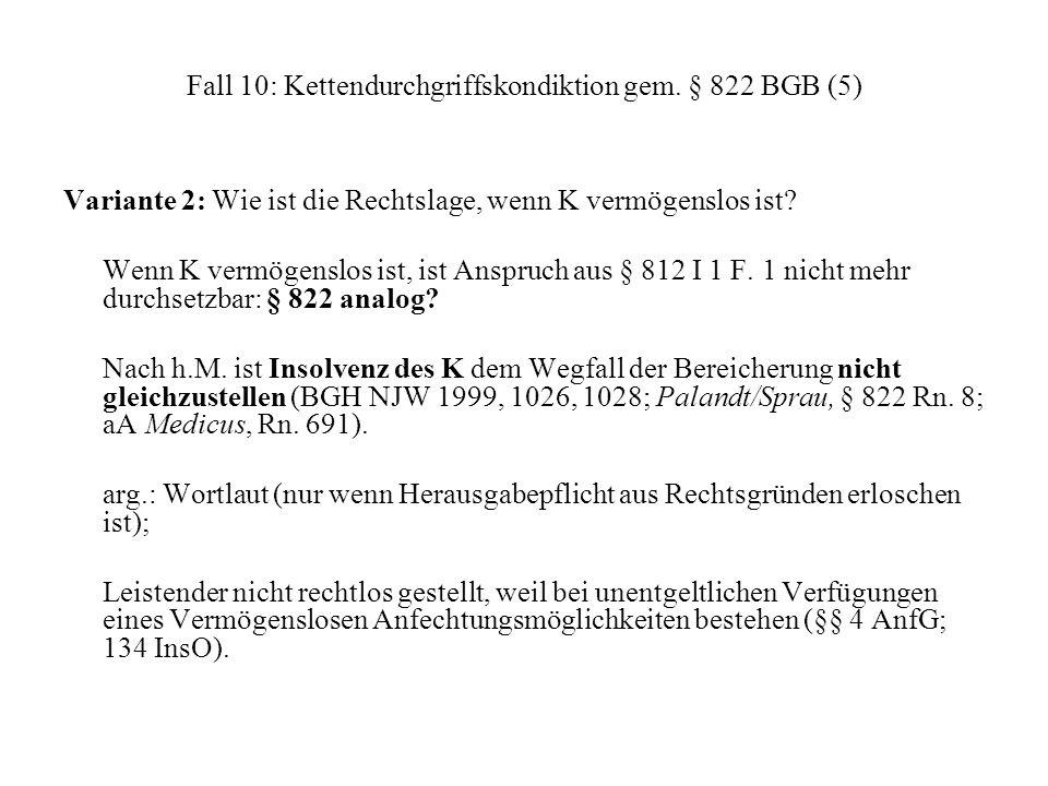 Fall 10: Kettendurchgriffskondiktion gem. § 822 BGB (5)