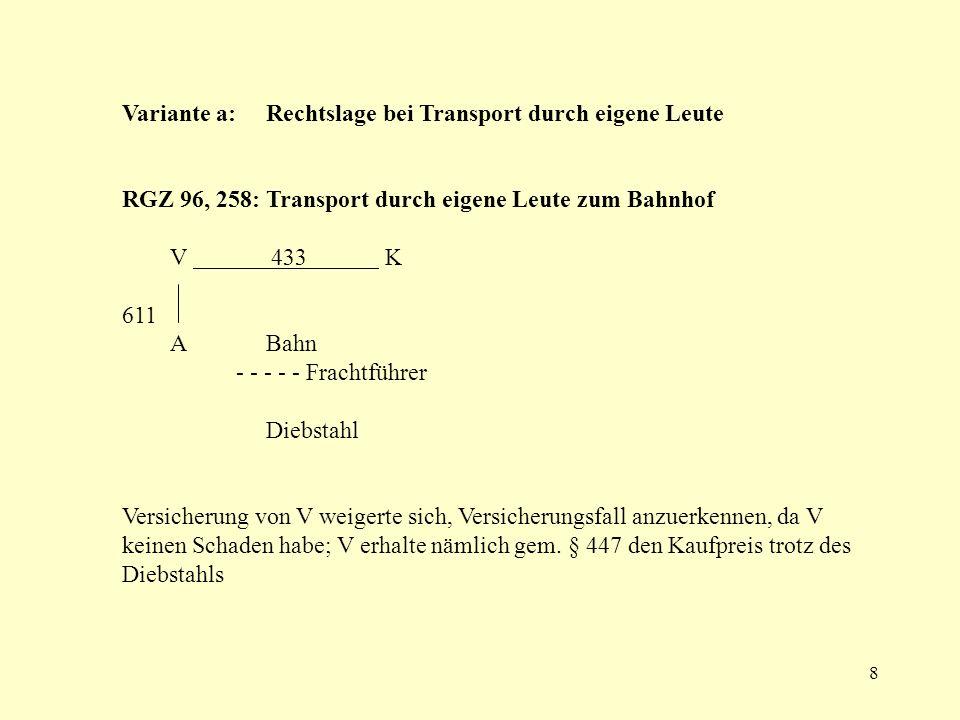 Variante a: Rechtslage bei Transport durch eigene Leute