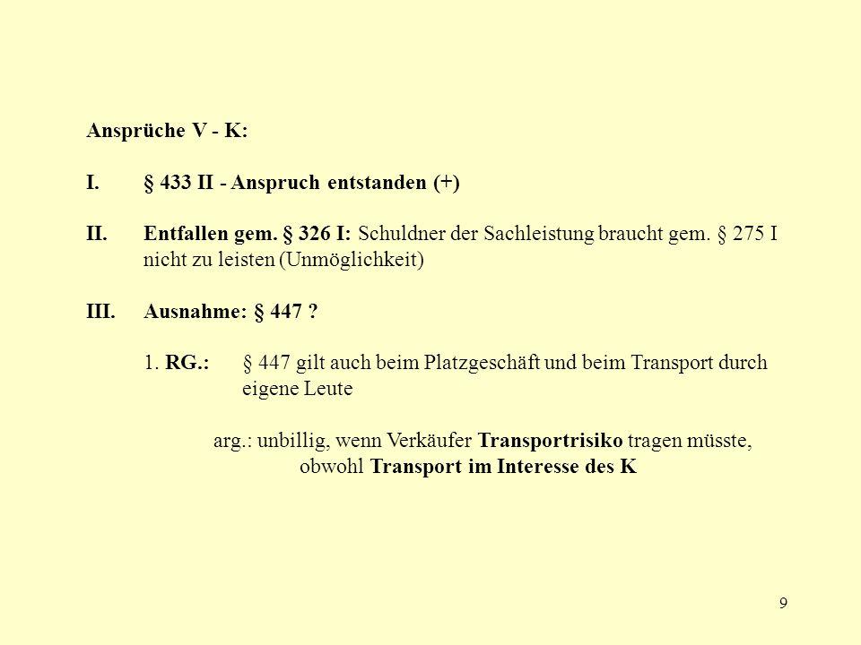 Ansprüche V - K: § 433 II - Anspruch entstanden (+)