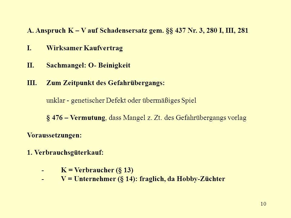 A. Anspruch K – V auf Schadensersatz gem. §§ 437 Nr. 3, 280 I, III, 281