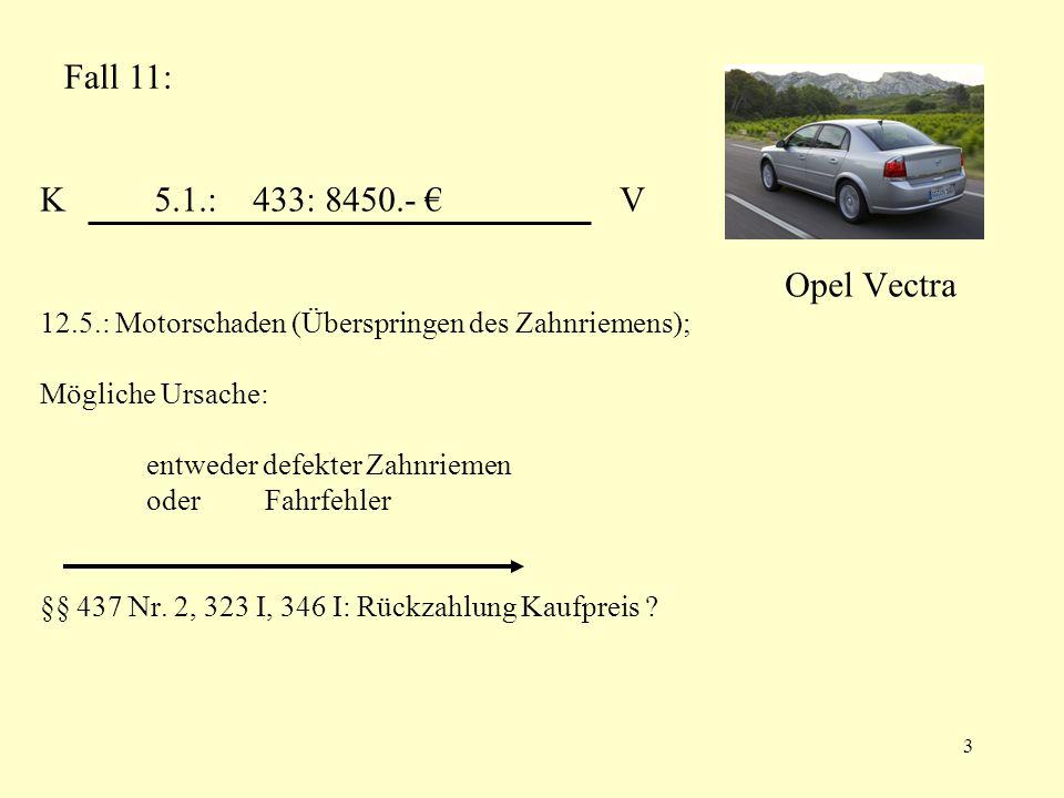 K 5.1.: 433: 8450.- € V Opel Vectra 12.5.: Motorschaden (Überspringen des Zahnriemens); Mögliche Ursache: entweder defekter Zahnriemen oder Fahrfehler §§ 437 Nr. 2, 323 I, 346 I: Rückzahlung Kaufpreis